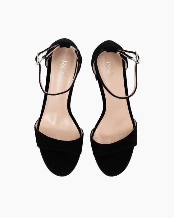Черные замшевые босоножки на каблуке ROU