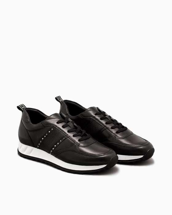 Черные кожаные кроссовки ROU с металлическим декором