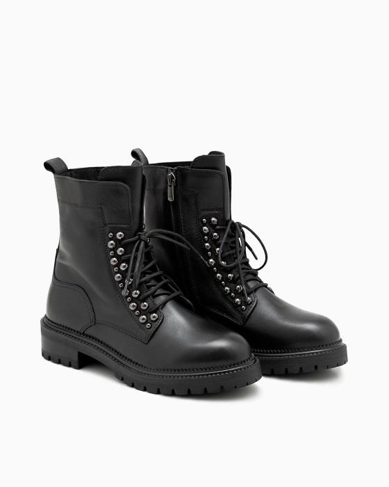 Черные демисезонные ботинки ROU на шнуровке декором