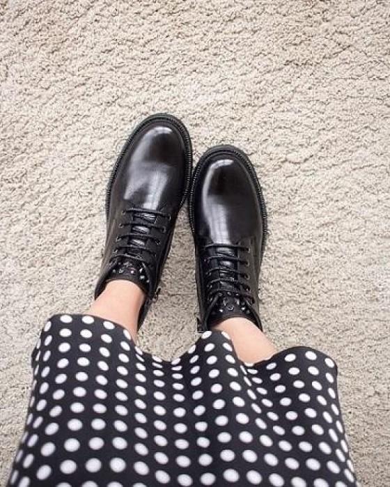Ботинки из гладкой кожи ROU