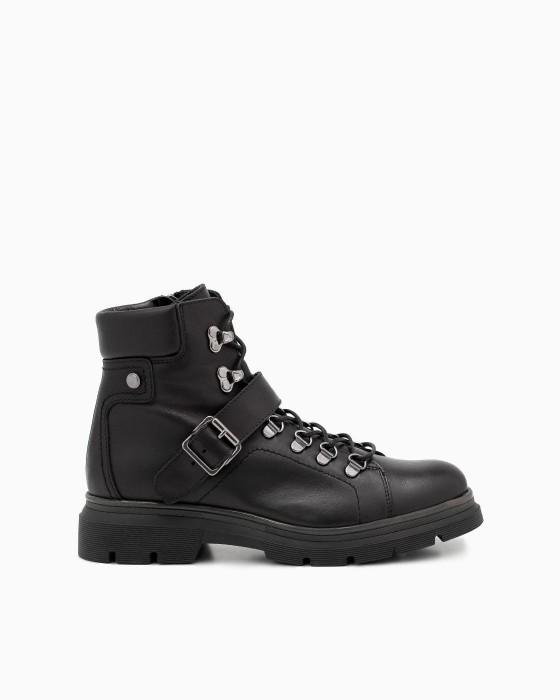 Черные демисезонные ботинки ROU открытой шнуровкой и пряжкой