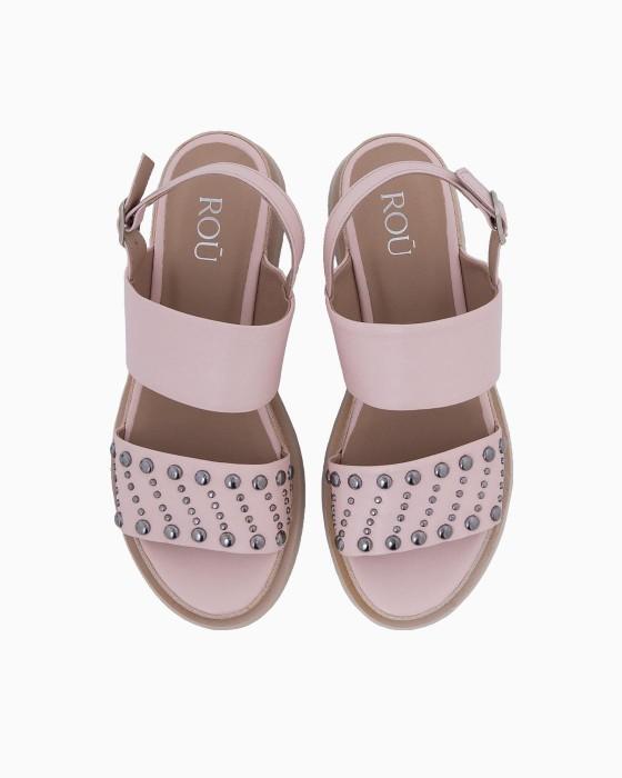 Розовые сандалии ROU на платформе с декором
