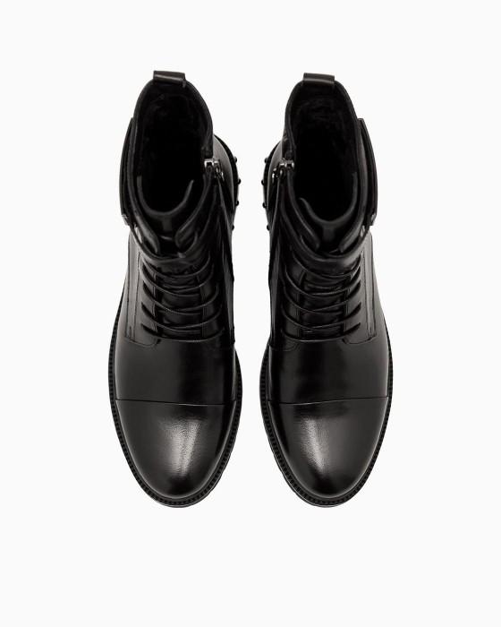 Черные демисезонные ботинки ROU с металлическим декором
