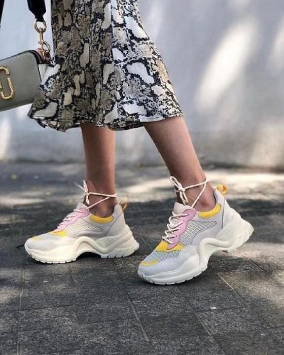 Бежевые кроссовки ROU с яркими вставками