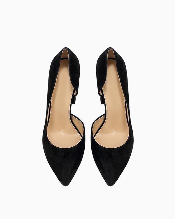 Черные замшевые туфли ROU на устойчивом каблуке