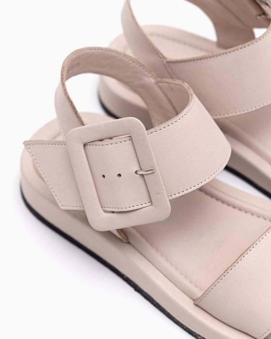 Бежевые сандалии ROU с большой пряжкой на комфортной подошве