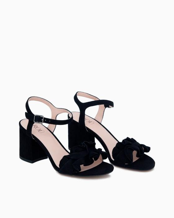Черные босоножки ROU на устойчивом каблуке