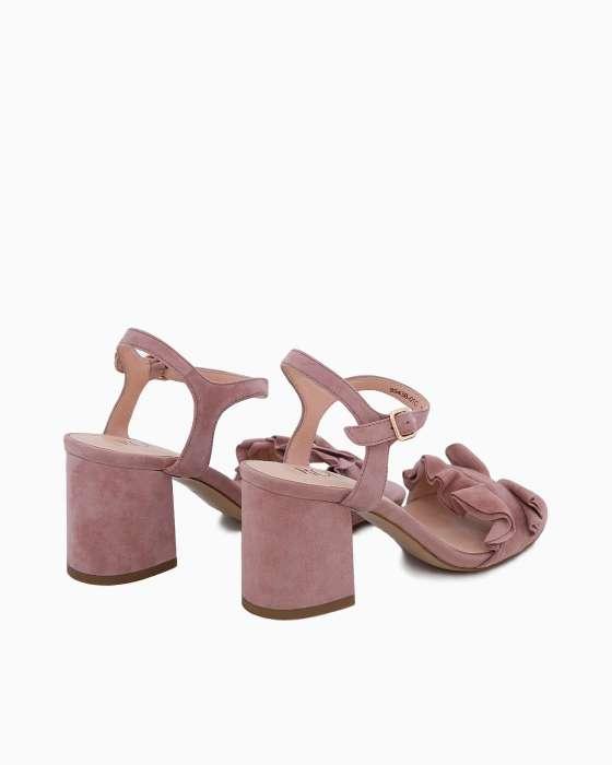 Замшевые розовые босоножки ROU на устойчивом каблуке