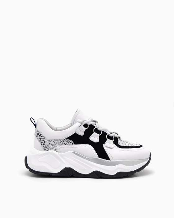 Черно-белые кроссовки ROU на массивной подошве