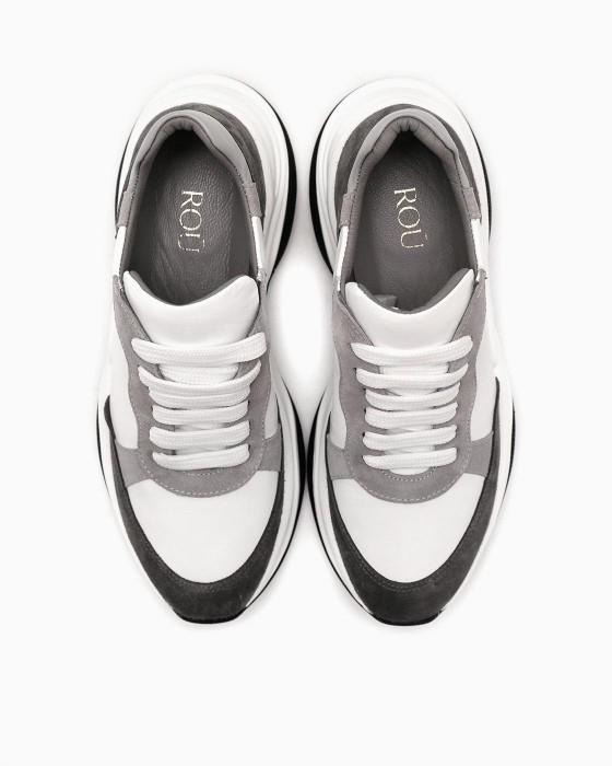 Бело-серые кроссовки ROU на массивной подошве