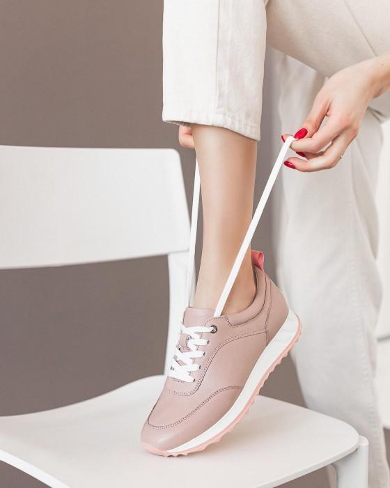 Розовые кроссовки ROU из гладкой кожи