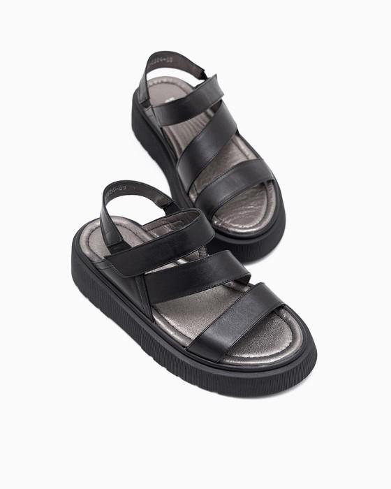 Черные сандалии ROU на спортивной подошве с липучкой