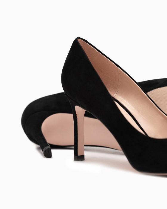 Черные замшевые туфли-лодочки ROU на среднем каблуке
