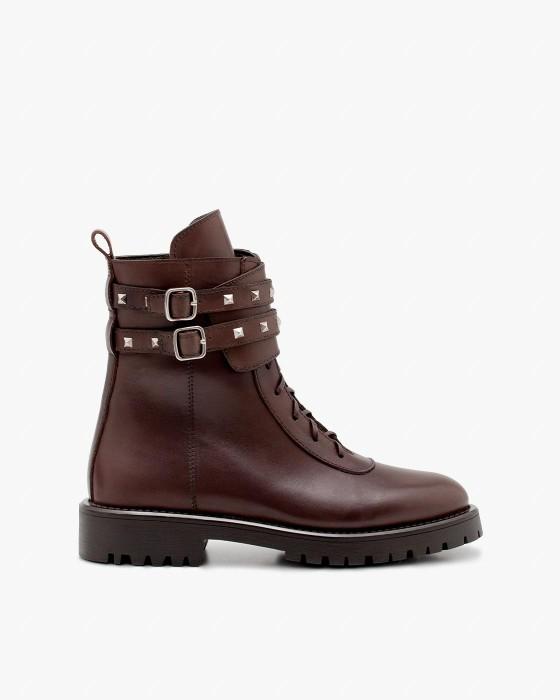 Коричневые кожаные ботинки ROU с ремешками