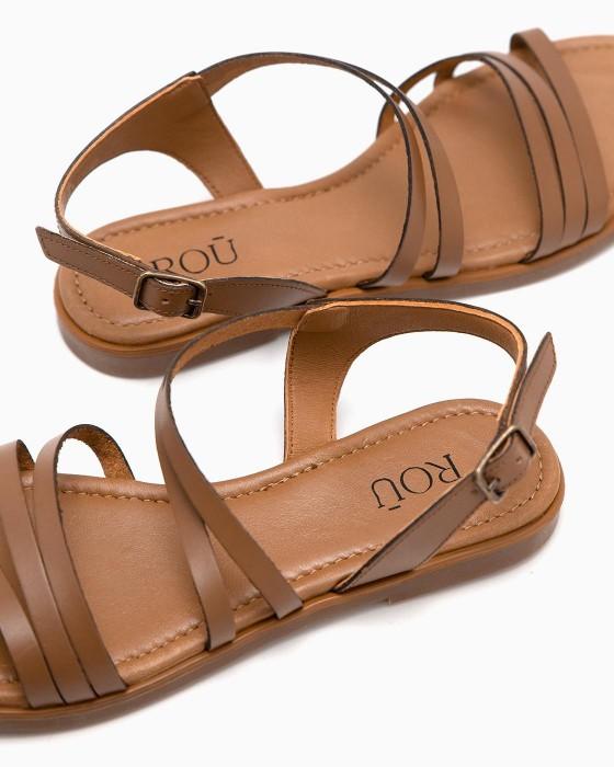 Коричневые сандалии ROU с плетением античном стиле