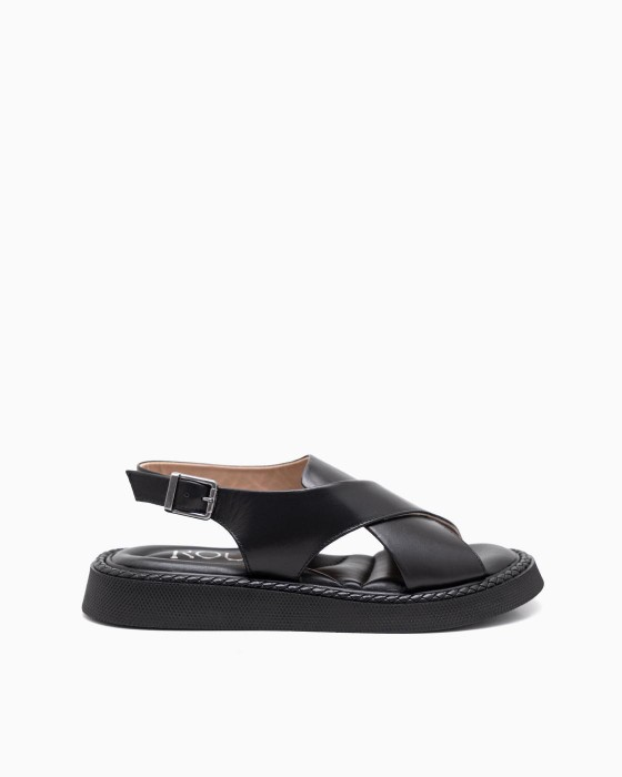 Черные кожаные сандалии ROU с косичкой по ранту