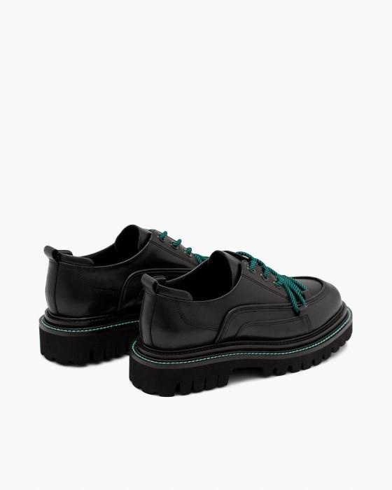 Черные кожаные туфли ROU на массивной EVA подошве
