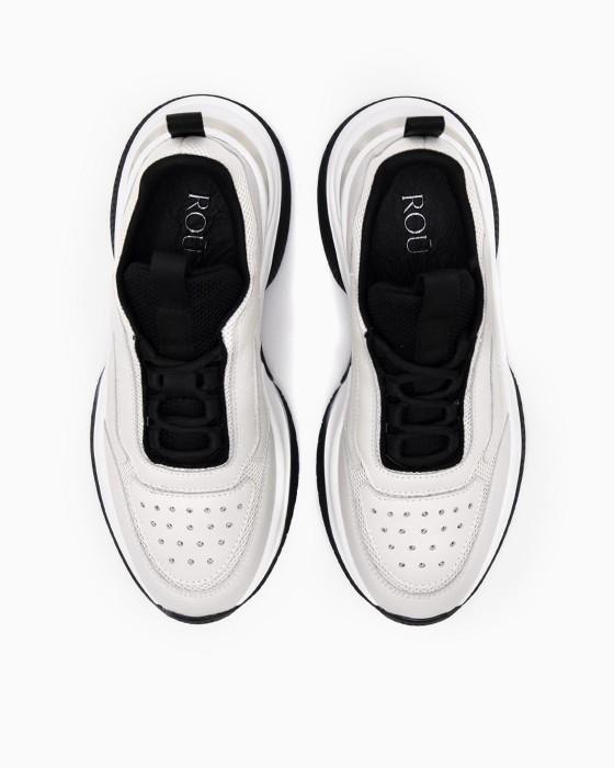 Бежевые  кроссовки ROU с силиконовой вставкой на пятке