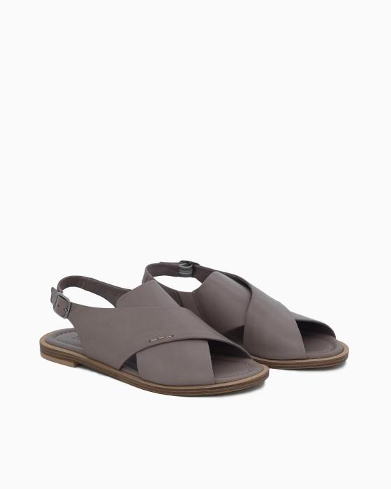 Серые кожаные сандалии ROU