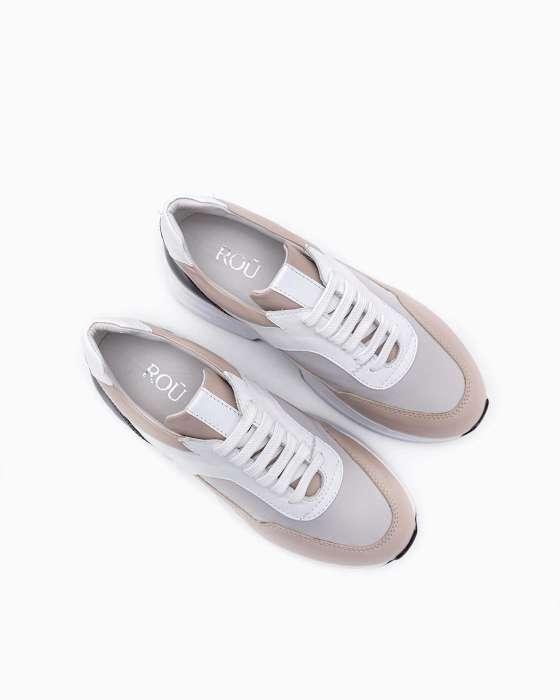 Кожаные кроссовки ROU с нейлоновой вставкой