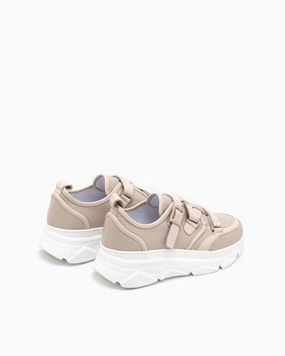 Бежевые кроссовки Rou с ремешком и застежкой