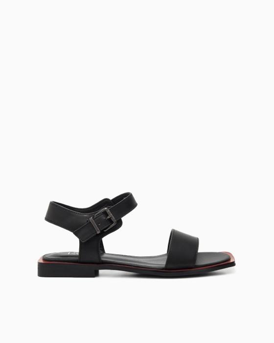 Черные сандалии ROU c красным рантом