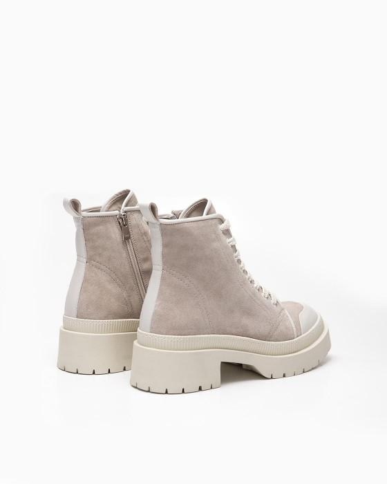 Бежевые ботинки ROU на массивной подошве